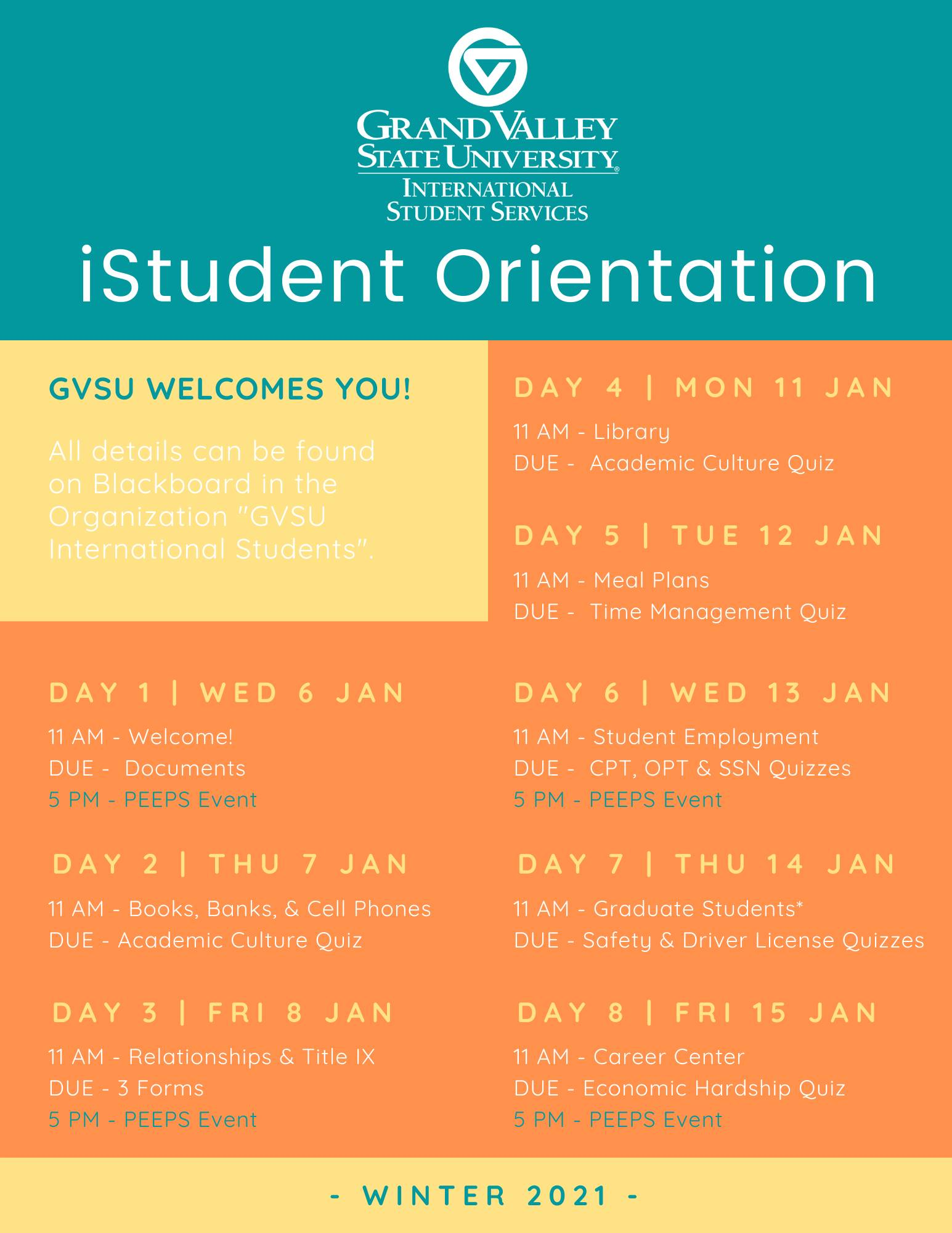 Winter 2021 Orientation Schedule